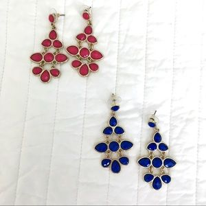 Set of 2 Chandelier Earrings - blue and pink